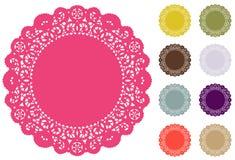 Esteiras de lugar do Doily do laço, cores da forma de Pantone Fotografia de Stock Royalty Free