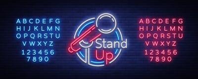 Esteja acima a comédia é um sinal de néon Logotipo de néon, bandeira luminosa brilhante, cartaz de néon, propaganda brilhante da  ilustração stock