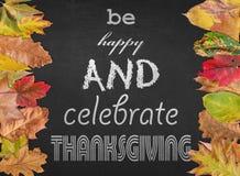 Esteja feliz e comemore a ação de graças como o cartaz do projeto com outono Fotografia de Stock Royalty Free