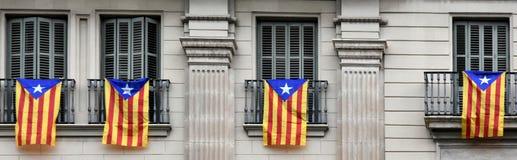 Estelada,加泰罗尼亚的分离主义者旗子 图库摄影