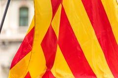 An estelada, the Catalan separatist flag, Barcelona, Catalunya, Spain. Close-up. An estelada, the Catalan separatist flag, Barcelona, Catalunya, Spain. Close-up Stock Image