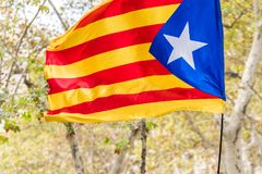 An estelada, the Catalan separatist flag, Barcelona, Catalunya, Spain. Close-up. An estelada, the Catalan separatist flag, Barcelona, Catalunya, Spain. Close-up Royalty Free Stock Photography