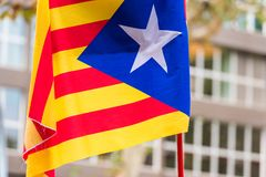 An estelada, the Catalan separatist flag, Barcelona, Catalunya, Spain. Close-up. An estelada, the Catalan separatist flag, Barcelona, Catalunya, Spain. Close-up Stock Photography