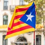 An estelada, the Catalan separatist flag, Barcelona, Catalunya, Spain. Close-up. An estelada, the Catalan separatist flag, Barcelona, Catalunya, Spain. Close-up Royalty Free Stock Photo