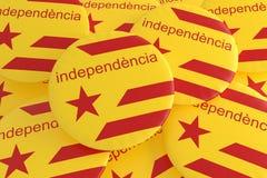 Estelada flaggaemblem med ordsjälvständighet i det Catalan språket, illustration 3d royaltyfri illustrationer