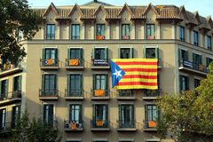 Estelades in the National Day of Catalonia in Barcelona Royalty Free Stock Images