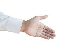 Estenda a mão com a luva solitária branca, isolada no fundo branco fotografia de stock