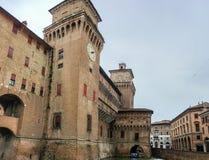 Estense城堡在费拉拉,意大利 图库摄影