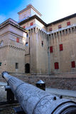 Estense Castle in Ferrara. Partial view of the Estense castle in Ferrara, Italy Royalty Free Stock Photography