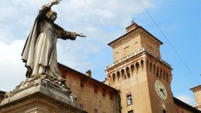 Estense Castle Savonarola statue Ferrara Italy. Estense Castle and Savonarola statue in Ferrara Italy stock video footage