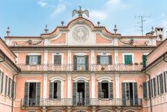 Estense Palace Palazzo Estense facade, Varese, Italy. Estense Palace Palazzo Estense facade with a sundial, topped by estense Eagle, Varese, Italy Royalty Free Stock Photos