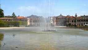 Estense Palace Palazzo Estense with fountain in front, is one of the most popular place of Varese, Italy. stock video