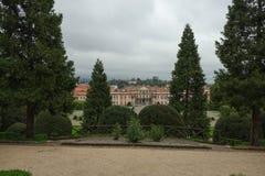 Estense Palace, or Palazzo Estense, the residence of Franchesco III d`Este, Duke of Modena and Reggio, and beautiful green park i stock photo