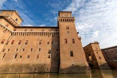 Estense slott - Ferrara Emilia Romagna - Italien Royaltyfri Fotografi
