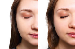 Estensione del ciglio Il confronto della femmina osserva prima e dopo fotografia stock libera da diritti