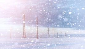 Estensioni innevate del paesaggio di inverno Un parco nell'inverno dentro immagine stock libera da diritti