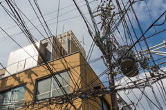 Estensive缆绳巢首先京都街道 免版税库存图片