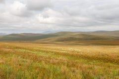 Estepa mongol en el fondo de un cielo nublado imagen de archivo libre de regalías