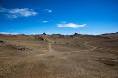 Estepe largo com grama amarela sob um céu azul com o estepe branco de Tazheran das nuvens, Sibéria Rússia foto de stock