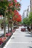 Estepona high street in Spain. Deserted Estepona high street in the summer in Spain stock image