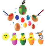 Ester design elements. Set of Easter eggs, rabbit and chicken over white Stock Images