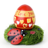 Ester egg with ladybug and Stock Photo