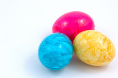 Ester eggs. Three colourful easter eggs royalty free stock photo