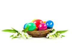 Ester eggs in basket spring trasditional Stock Photo
