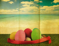 Ester egg with retro grunge background Royalty Free Stock Photography