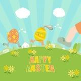 Ester eggs running Stock Photo