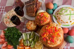 Ester meal. Ester cake and other meal on festive table Stock Photography