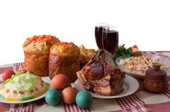 Ester meal. Ester cake and other meal on festive table Royalty Free Stock Photos