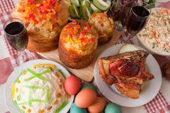 Ester meal. Ester cake and other meal on festive table Stock Photo