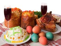 Ester meal. Ester cake and other meal on festive table Stock Photos