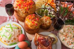 Ester meal. Ester cake and other meal on festive table Royalty Free Stock Images