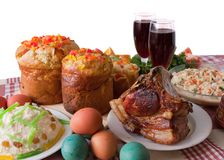 Ester meal. Ester cake and other meal on festive table Royalty Free Stock Photography