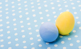 Ester wooden eggs on napkin Royalty Free Stock Image