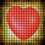 Estera amarilla beige del grunge abstracto y imagen roja del corazón Foto de archivo libre de regalías