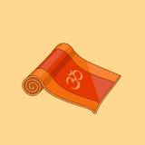 Estera anaranjada de la yoga de la historieta del vector Imágenes de archivo libres de regalías