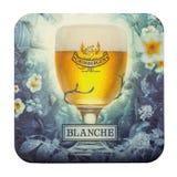 Estera de la cerveza de Grimbergen que hace publicidad de la abeja de Blanche Grimbergen Imagen de archivo