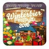 Estera de la cerveza para hacer publicidad del festival 2016 del winterbeer de Rootz Foto de archivo
