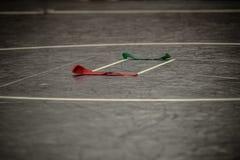Estera de lucha y correas coloreadas Fotografía de archivo