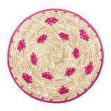 Estera de lugar de mimbre de bambú circular de la tabla de la palma de rota de la armadura Imagen de archivo
