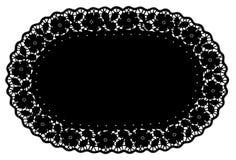 estera de lugar negra oval del tapetito del cordón de +EPS, BG floral Imagen de archivo libre de regalías