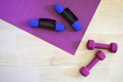 Estera violeta de la yoga y pesas de gimnasia del deporte Foto de archivo libre de regalías