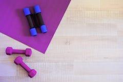 Estera violeta de la yoga y pesas de gimnasia del deporte Imagen de archivo