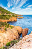 Esterel断层块法国里维埃拉,法国红色岩石  免版税库存图片