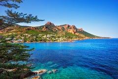 Esterel晃动海滩海岸、树和海 戛纳圣拉斐尔Co 免版税库存图片