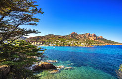 Esterel bascule la côte, l'arbre et la mer de plage Saint Raphael Co de Cannes photo stock
