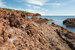 Esterel Massif. Volcanic rocks Esterel Massif overlooking the Mediterranean Sea Royalty Free Stock Image